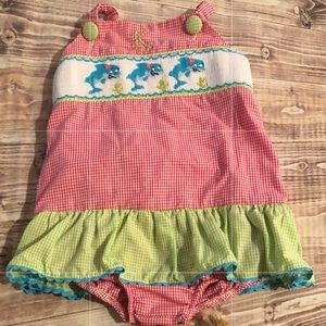 2T smocked girls swim suit